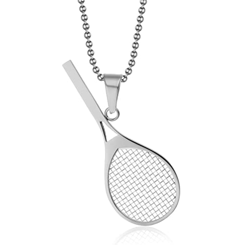 Amazon vnox jewelry stainless steel tennis racket shape pendant vnox jewelry stainless steel tennis racket shape pendant necklace perfect gift for him or her aloadofball Choice Image