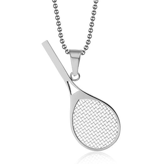 Amazon vnox jewelry stainless steel tennis racket shape pendant vnox jewelry stainless steel tennis racket shape pendant necklace perfect gift for him or her mozeypictures Gallery