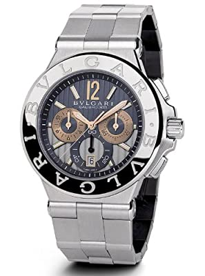 Bvlgari Diagono Anthracite Dial Chronograph Stainless Steel Automatic Mens Watch DG42C14SWGSDCH