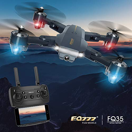 HGLRC FQ35 Drone FPV RC Quadcopter HD Camera Live Video Ready to Fly 2 Batteries FQ777 Drones for Kids Foldable Arms Headless Mode Altitude Hold One Key Take Off Landing APP Control Drone Helicopter