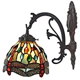 Bieye Tiffany Style Stained Glass Dragonfly Wall Sconce Lamp Fixture with 6 inches Handmade Lamp Shade (Blue Single Downlight)