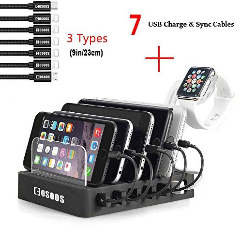 Charging Station for Multiple Devices,COSOOS USB Charger Station with 5 Short lPhone Charger Cables,1 Type-C,1 Micro Cable,lWatch Stand,6-Port USB Charging Station for iPad,Tablet,Kindle(UL - Car Ipod Mini Docking Station
