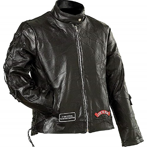 (Diamond Plate Ladies Genuine Buffalo Leather Motorcycle Jacket-L (Pack Of 1))