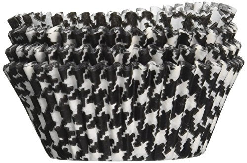 Jubilee Sweet Arts Houndstooth Baking Cups, Standard Size, 50 count, Black (Houndstooth Supplies Party)