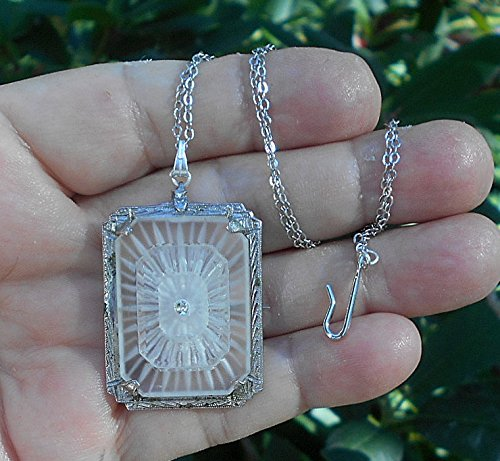 (Lovely Triple Decker Camphor Glass w/ Rhinestone in Etched Rhodium Setting, on Rhodium Plated Necklace. Brooch/Pendant.)