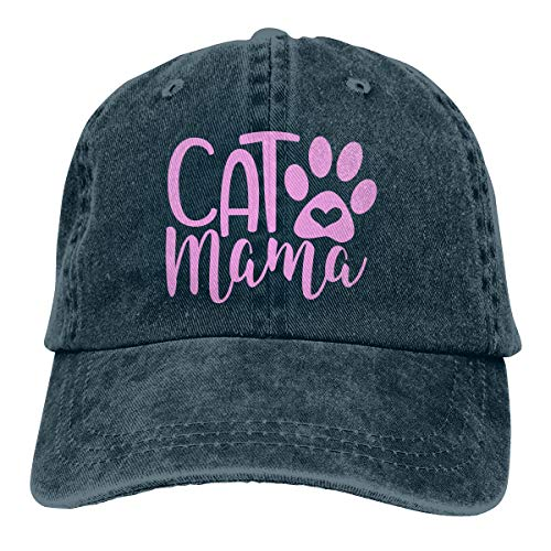Cat Mama Unisex Vintage Adjustable Baseball Cap Cotton Denim Dad Hat Trucker Hat Navy