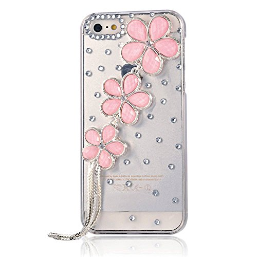 Evtech (TM) per iPhone 5/5S T-Mobile Sprint at & T Verizon 3D Handmade Bling cristallo fiore catena strass duro case (100% Handcrafted)