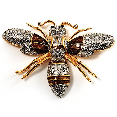 new Oversized Gold Diamante Bee Brooch free shipping