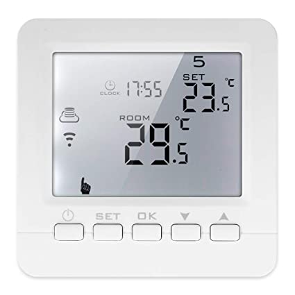 Decdeal 16A Electric Heating Programmable Thermostat LCD Display with White Backlight Temperature Controller Voice Control Compatible