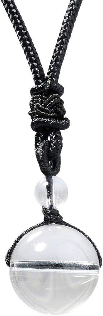 KYEYGWO - Collar con colgante de bola de piedras preciosas naturales, hecho a mano, ajustable, para hombre y mujer