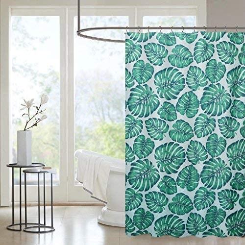 "Forest Fog Kids Bathroom Shower Curtain - Pale Brown Customized Heavy-Duty Polyester Fabric Bathroom Curtains Ideas (72"" W x 72"" H, Palm Leaves)"