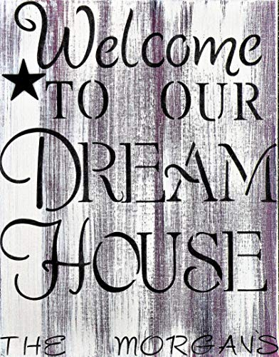 Welcome To Our Dream House Personalized Canvas Painting, Custom Name on Distressed Sign, Rustic Welcome Sign With Family Name, Country Rustic Custom Welcome Sign, Hand Painted Custom Sign