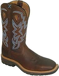 Twisted X Men's Lite Cowboy Steel Toe Workboot, Brown Pebble/Brown Pebble - 11 2E US