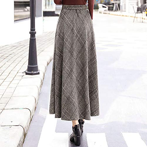 Casual Woolen Falda Columpios Elástica Mujeres Lattice Niais Vintage Tallas Abotinados Grandes Larga Brown Cintura Elegante Ladys cXOvqI
