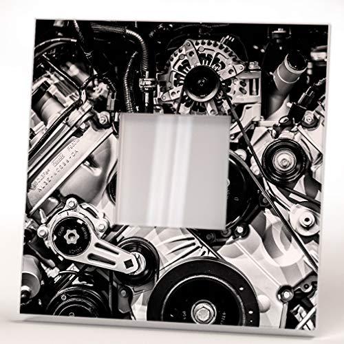 Motor Coche Metal Potente Motor Cilindro Espejo De Pared Marco Auto Impresión Diseño Hogar Regalo