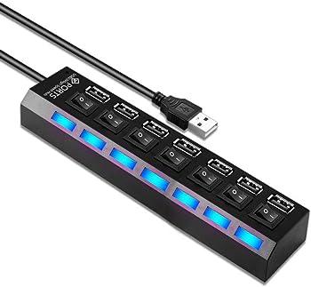 Barsone 7-Ports USB 2.0 Multi Port USB Splitter w/ On/Off Individual Switch