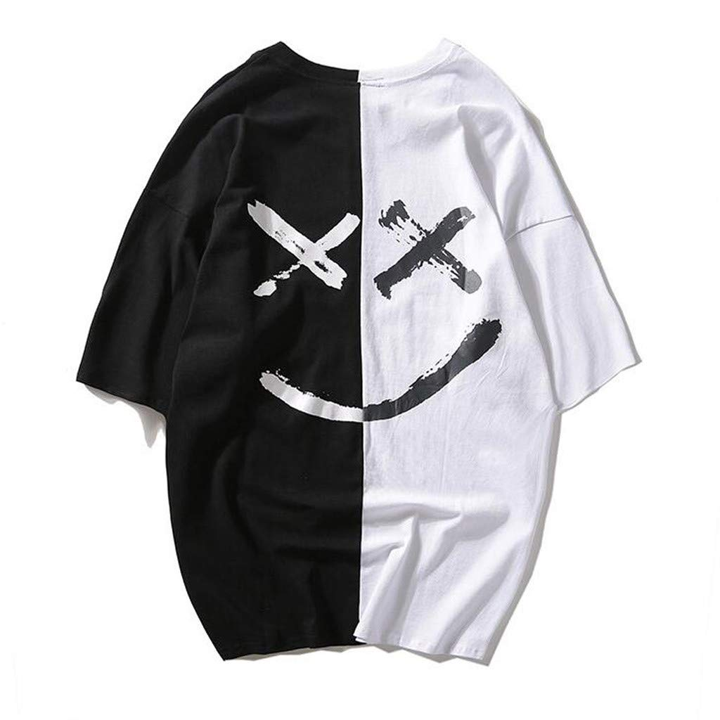 F_Gotal Shirt for Mens, Men's O Neck T-Shirt Short Sleeve Shirt Big and Tall Smiling Face Fashion Print Tees Blouse Tops White