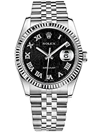 Rolex Datejust 36 Black Jubilee Design Roman Numeral Dial Watch 116234