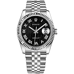 Best Epic Trends 511zv0QS4KL._SS300_ Rolex Datejust 36 Black Jubilee Design Roman Numeral Dial Watch 116234