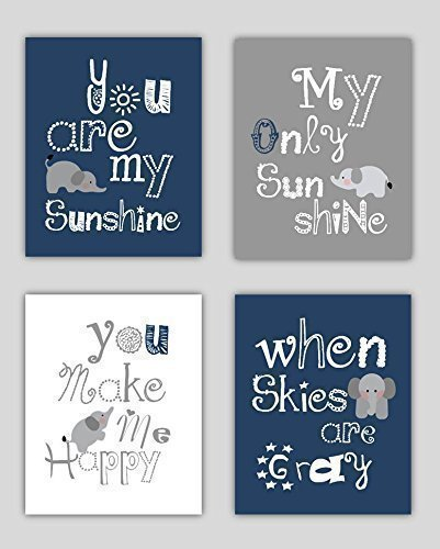 Good Elephant Art, You Are My Sunshine Navy Blue And Gray Art Prints, Navy  Nursery
