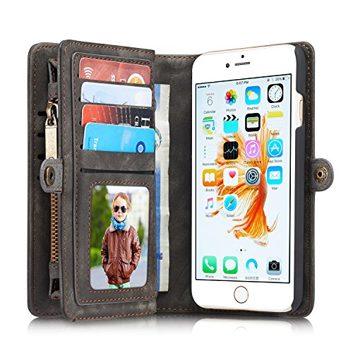 Leather Wallet Phone Case for iPhone 6/iPhone 6S,Premium Zipper Flip Wallet...