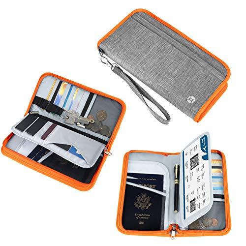 Family Passport Holder - Vemingo RFID-Blocking Travel Wallet Ticket Holder Document Organizer with Zipper for Women & Men, Fits 5 Passports (Grey+Orange)