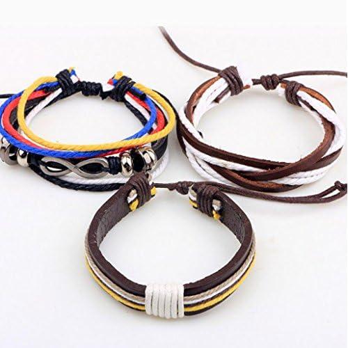 ab62678adf20 FGSJEJ Pulseras de cuero de hombres y mujeres Joyería de mano de  combinación múltiple Pulsera de trenza de cuerda colorida Pulsera de cuentas  de joyería ...