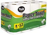Truly Tuff Absorbent Paper Towels, Select your Size Sheets, 8 Giant Rolls = 12 Regular Rolls, White