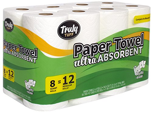 Truly Tuff Absorbent Paper Towels, Select your Size Sheets, 8 Giant Rolls = 12 Regular Rolls, - Warehouse Discount Bucks