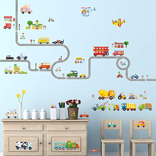 Decowall DAT-1404P1405 The Road and Transports Kids Wall Decals Wall Stickers Peel and Stick Removable Wall Stickers for Kids Nursery Bedroom Living Room by Decowall (Image #1)