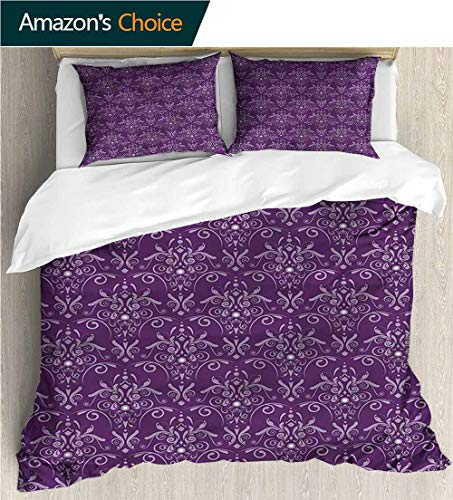 """VROSELV-HOME European Style Print Bed Set,Box Stitched,Soft,Breathable,Hypoallergenic,Fade Resistant 100% Cotton Bedspread/Quilt Set,3 Pieces-Eggplant Damask Leaves Curls (80"""" W x 90"""" L)"""