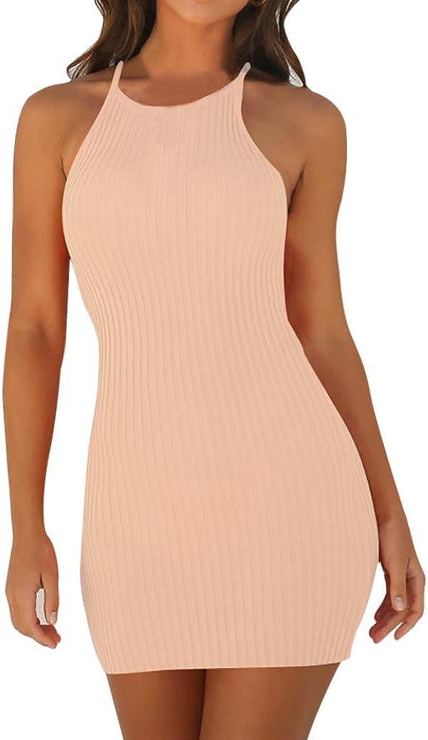 Fashion Women Scoop Neck Halter Sleeveless Hole Bodycon Mini Club Party Dress