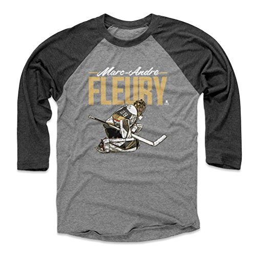 Marc Baseball - 500 LEVEL Marc-Andre Fleury Baseball Tee Shirt (X-Large, Black/Heather Gray) - Vegas Golden Knights Raglan Tee - Marc-Andre Fleury Grunge D WHT