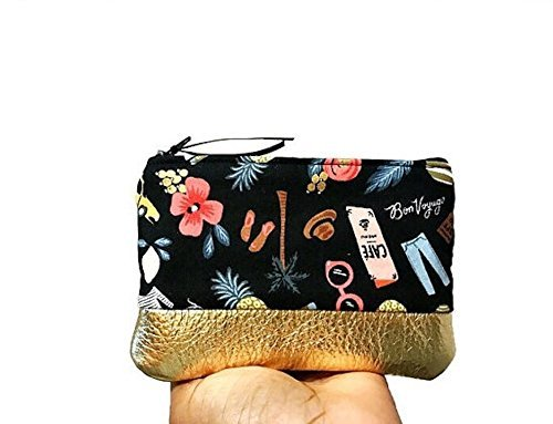 Bon Voyage Black Small Leather Pouch, Coin Purse Wallet