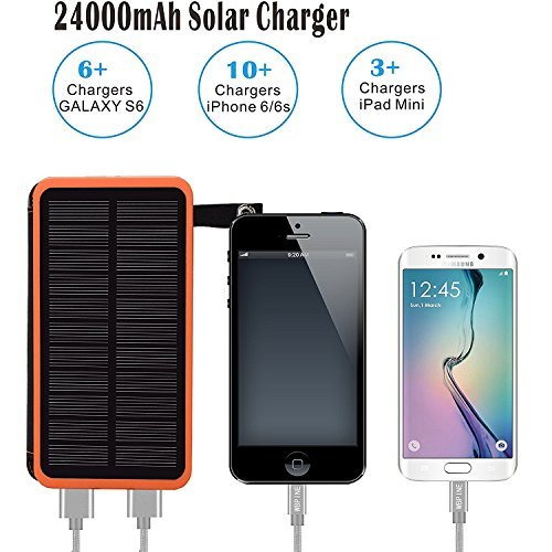 Solar Charger 24000mAh,Solar Power Bank Waterproof Dual USB Output with 3 Solar Panels External Battery Bank with Flashlight for iPhone,Samsung,iPad and Outdoor Camping(Orange) by WBPINE (Image #1)