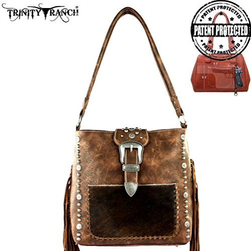 tr35g-121-trinity-ranch-tooled-hair-on-leather-concealed-handgun-collection-handbag-coffee