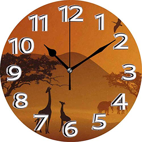 jifyasuo Wall Clock 10in African SavannaSilent Home Office Decor Non-Ticking Clock Office Decorative