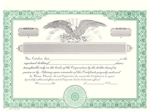 Blank Corporate Stock Certificates, HUBCO, Green, Pack of (Company Stock Certificate)