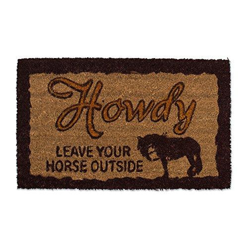 Cheap Natural Coir Coco Fiber Non-Slip Outdoor/Indoor Doormat, 18×30″, Heavy Duty Entry Way Shoes Scraper Patio Rug Dirt Debris Mud Trapper Waterproof-Howdy Leave Your Horse