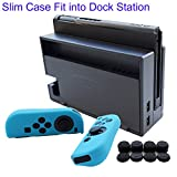 Hikfly 3in1 Ultra Slim Docked PC Cover Case for Nintendo Switch(Transparent Black) & Silicone Covers (Blue) for Joy-Con Controllers with 8pcs Thumb Grips Super Thin Fit into Dock Review