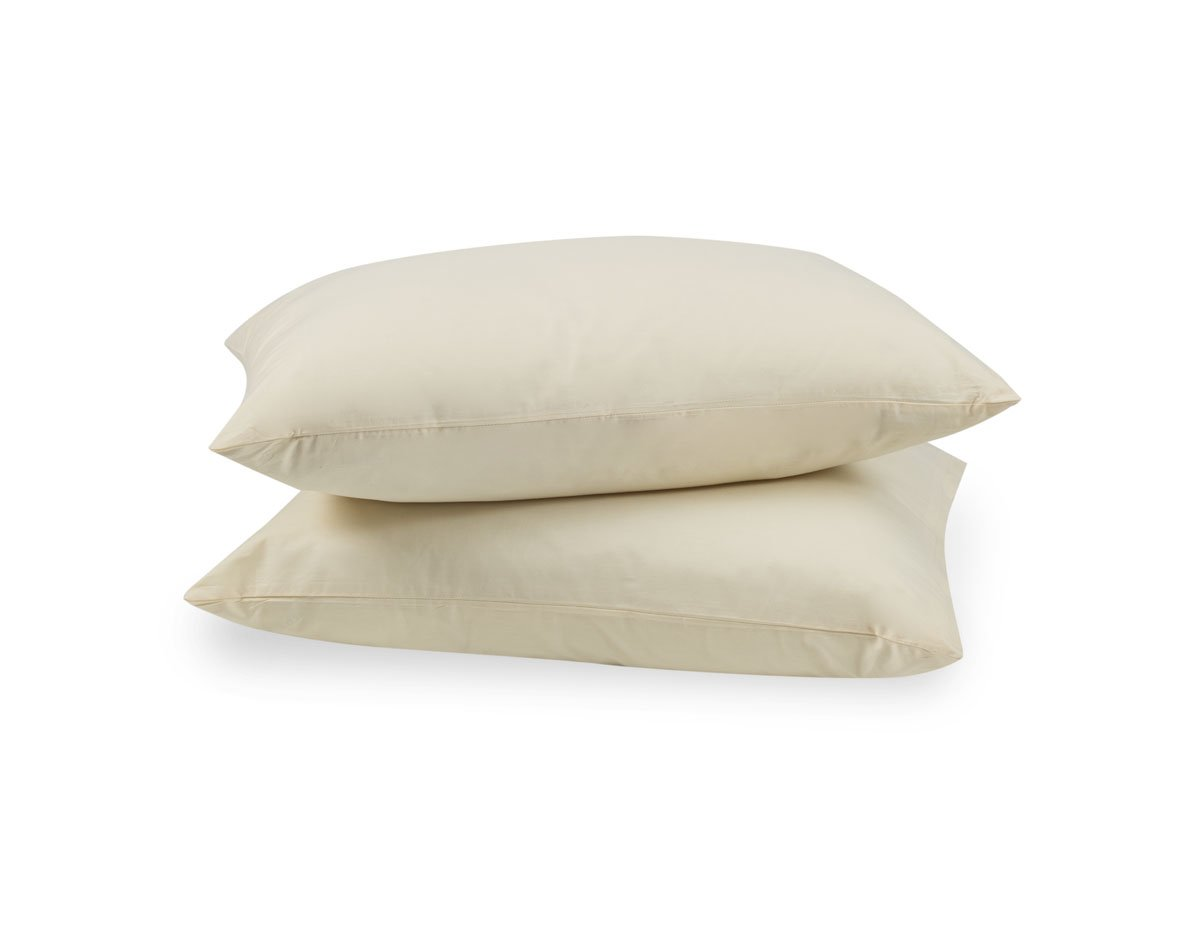100% Cotton - Pillow Protector / Cover - Zippered Style - Cream Color - King Size (20