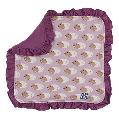 KicKee Pants Little Girls Print Ruffle Bamboo Lovey - Sweet Pea Diictodon, One - Fleece Pea Sweet Blanket
