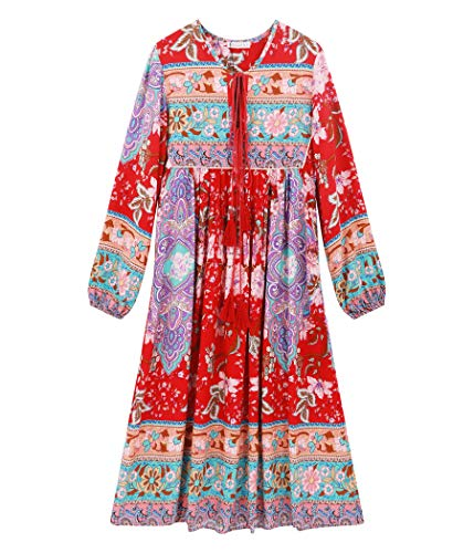 R.Vivimos Women's Long Sleeve Floral Print Retro V Neck Tassel Bohemian Midi Dresses (Medium, Red)
