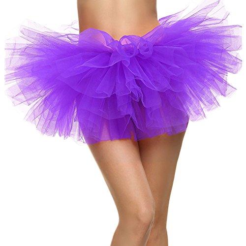 Women's Adult 5 Layered Tulle Mini Tutu Skirt, Purple -