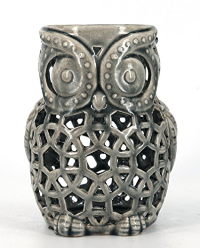 True Grit Fine Ceramic Vintage Style Pillar Decorative Candlestick Holder, Owl, Grey