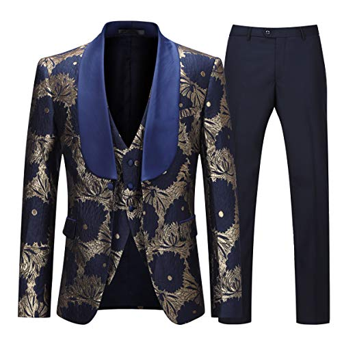 - Boyland Men's Formal Suit Floral Slim Fit 3 Pieces Shawl Lapel Prom Dinner Formalwear Tux Suit Jacket Vest Pants Navy Blue
