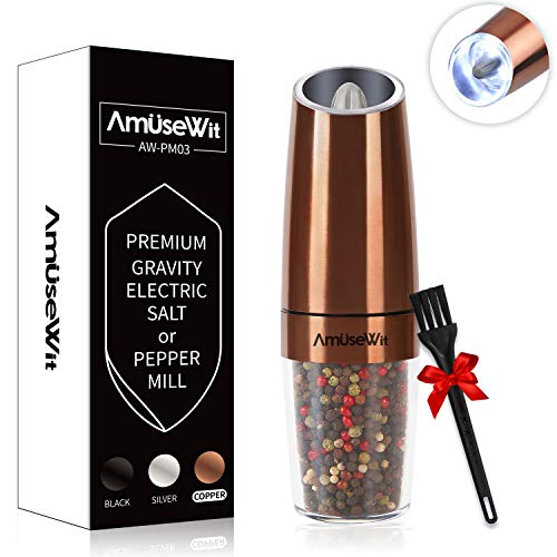 Gravity Electric Pepper Grinder or Salt Grinder Mill【2019 Newest】- Battery Operated Automatic Pepper Mill with White Light,Adjustable Coarseness,One Handed Operation,Cleaning Brush,Copper by AmuseWit