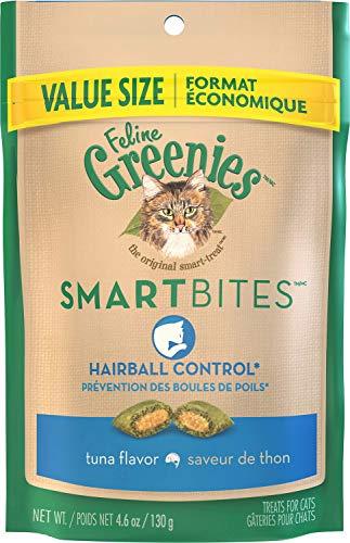 FELINE GREENIES SMARTBITES Hairball Control Natural Cat Treats Tuna Flavor, (10) 4.6 oz. Pouches