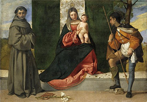 [High Quality Polyster Canvas ,the High Resolution Art Decorative Canvas Prints Of Oil Painting 'Titian [Vecellio Di Gregorio Tiziano] Vecellio Di Gregorio The Virgin And Child Between Saint Anthony Of Padua And Sain ', 20 X 29 Inch / 51 X 73 Cm Is Best For Kids Room Decoration And Home Artwork And] (Diy Snow Globe Costume)