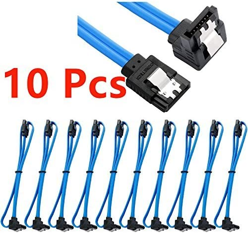 Sata cable TXLOVE 18 Inch SATA III 6.0 Gbps Data Cable with Locking Latch and 90-Degree Plug 10x Sata Cable Blue